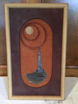 Vintage Sculpted Metal Art Oil Rig On Suede Framed Carl Queen 80s Art