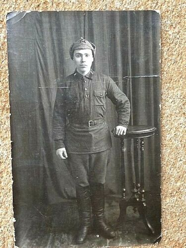 WW2 Russian Red Army Studio  Photograph of the Soldier. Early Uniform.  Orig.