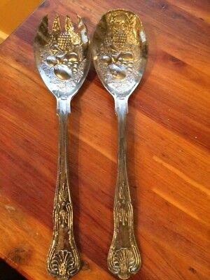 Decorative Silverplate Spoon - Silver plate Silverware Decorative Fork & Spoon Fruit Salad Serving Set Vintage