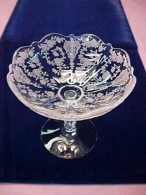 "Cambridge Rose Point Crystal Glass Footed Pedestal Compote 5 1/4"" High"