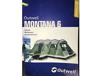 Outwell Montana 6 person tent with canopy extension and footprint