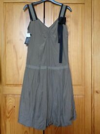 Sisley Ladies Khaki Dress New Size UK 10 /EU 40