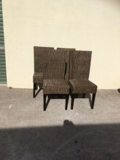 Dining Chairs(4)-in wicker and high backed, in vgc