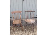 2 old pine kitchen chairs