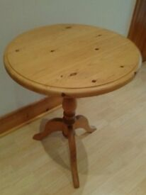 Solid pine small round pedestal table for sale