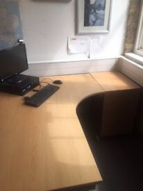 Free Office Furniture, London Bride - 7 Desks and 7 office Chairs, all with drawers and/or pedestals