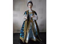 "RARE Fine art Marie Antoinette period fashion doll born 1755, 12"" set on wooden Base"
