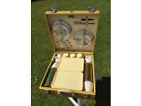 Vintage BREXTON Four Place Picnic Hamper Set with original Key