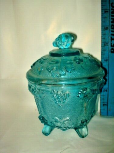 Vintage Jeannette  Blue Glass Footed Candy Dish with Cover-Grapes & Leaves