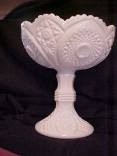 Vintage Milk Glass Footed Hobstar Compote