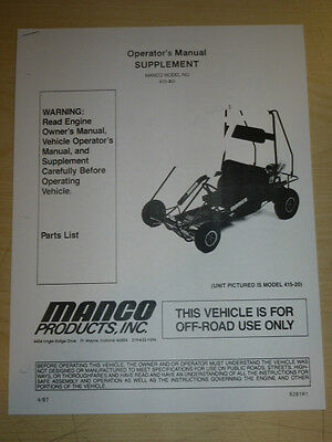 MANCO MODEL 415-301 GO KART PARTS LIST OPERATORS MANUAL CART