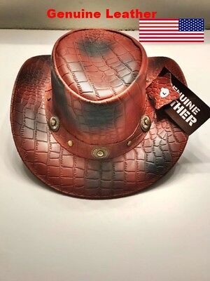 New genuine  Water Proof cow LEATHER Outback Western Cowboy Hat.crocodile emboss (Crocodile Cowboy Hat)