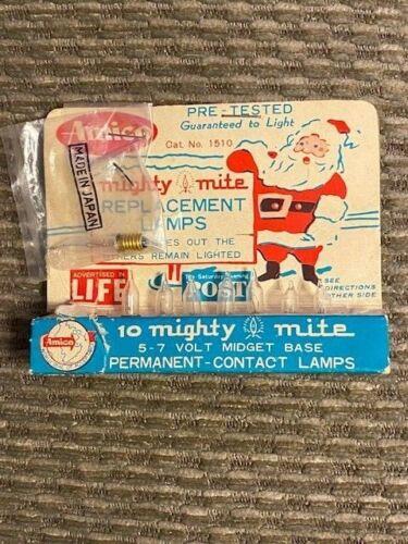 Vintage Christmas Light Mini Replacement Bulbs Amico Mighty Mite Midget w/ Box