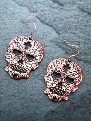Sugar Skull/Cross Halloween/Motorcycle Dangle Earrings - Copper Tone -NEW](Sugar Skull Halloween Look)