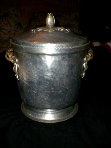 VTG. HAMMERED ALUMINUM TULIP TOP ICE BUCKET FLORAL HANDLES INSULATED MCM