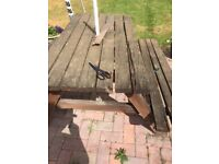 picnic bench wooden for free
