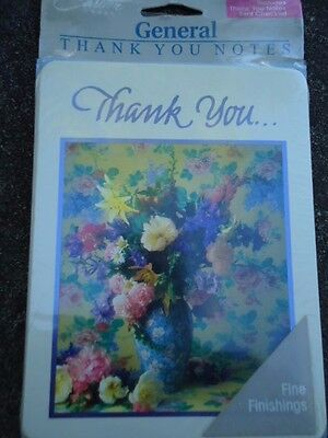 Carlton Cards General Thank You Notes Vase of Flowers 8 Pieces Unopened