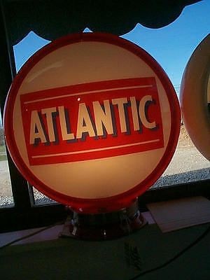 ATLANTIC reproduction gas pump globe 2 glass lens in a RED plastic body NEW