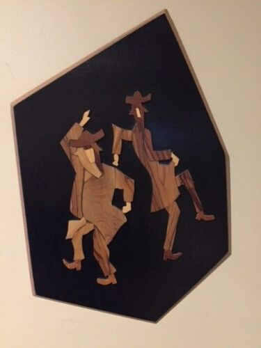 Vintage Jewish Dancing Rabbis Inlay Wood Hanging Artwork Israel Numbered