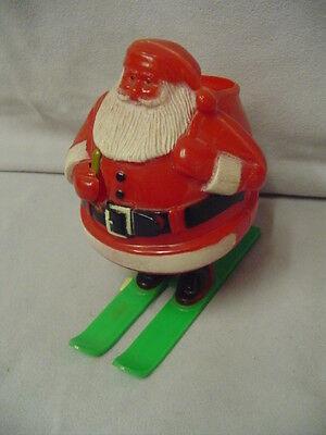 "Santa On Skies Candy Holder Hard Plastic 4.5"" Tall 4.5"" Across Older"