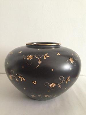 große Wächtersbach Art Deco Vase Schwarz Goldfarbend Keramik 30er Jahre Design