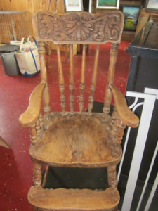 Antique high chair, baby gate, baby key board