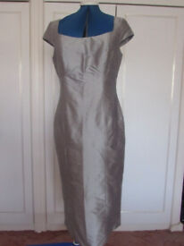 SILVER GREY SILK FULLY LINED DRESS BY JAEGO SIZE 12 BRAND NEW