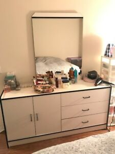 White & Black dresser with mirror $90 or best offer