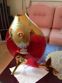 RED CRYSTAL WITH GOLD DECOR FISH VASE