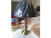 """lamp with waven navy shade 13"""" high new in the wrapper stunning"""