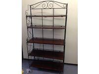 freestanding decorative wrought iron and wood shelving unit