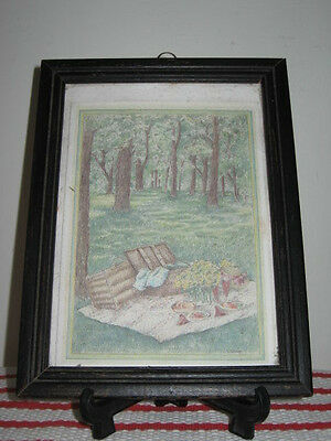 "Small Framed Colored Pencil Drawing ""Picnic in the Woods"" Signed S. Reeve"