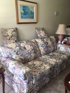 Comfortable, hide-a-bed sofa and wing chair, Ex. Condition