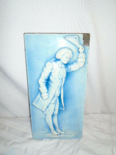 Vintage Blue Glazed  Tile reclaimed architetural old COLONIAL MAN