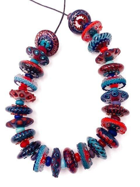 MAGMA HANDMADE ROUND GLASS LAMPWORK BLUE RED TURQUOISE BEADS  REGIS TEIXERA