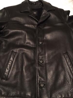 Men black leather jacket - Guess - size M