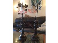 Two Art Nouveau style matching lamps