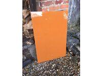 Glass Splash back in burnt orange colour
