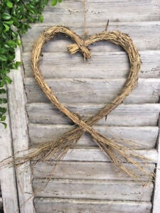 Large Rustic Heart Wreath Twig Hanging Straw Wicker Type Wedding Decoration
