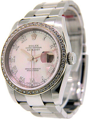Rolex Datejust Pink Mother of Pearl Diamonds  Random Serial Number 116244 36mm