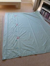 Pair of curtains - cotton, lined, size 160m wide x 180cm long, aqua with floral pattern