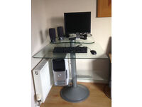 Home Office Silver Chrome PC Computer Corner Table Desk + Glass Surface (Suitable for Adults/Kids)