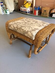 Rocking wicker foot stool  and sheer drape