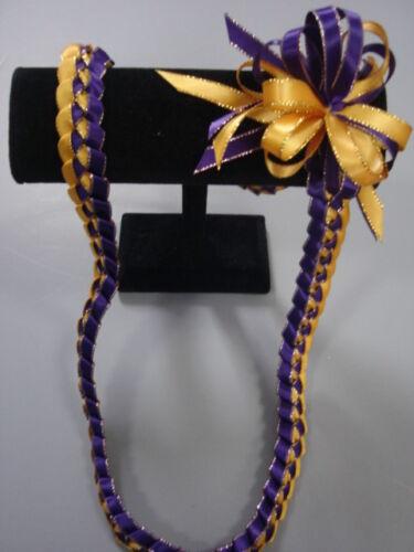 Hawaiian Braid Metallic Edge Ribbon Lei Purple and Gold