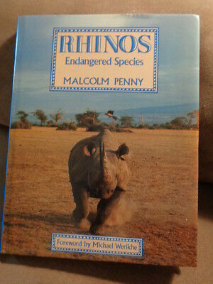Book Rhinos Endangered Species Malcolm Penny 1988 - Endangered Book