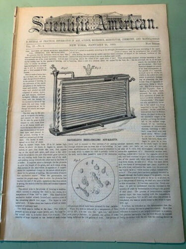 1860 SCIENTIFIC AMERICAN Magazine: January 21st Issue - Beer Cooling Apparatus !