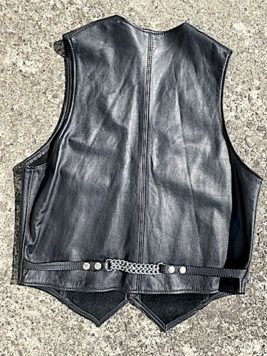 LEATHER MAN NYC NEW YORK VINTAGE BLACK LEATHER BIKER BAR CHAIN VEST IML BLUF MED