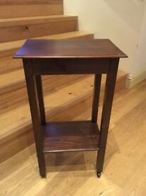 Practical Wooden 'Plant' or Side Table with wheels, East Linton