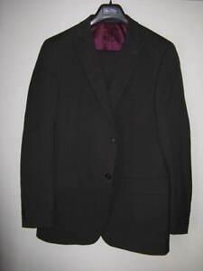 Sean John Charcoal Black Pinstripe Suit 42T