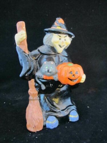"""Vintage Halloween Witch Candle- Broom- Jack-o-lantern- Cat- 6.5"""" Tall"""